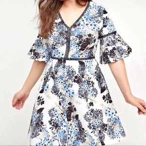 Lane Bryant | Fit & Flare Floral Bell Sleeve Dress